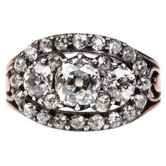 Early 19th Century Diamond Silver Gold Cluster Ring