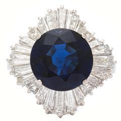 5.39 Carat Sapphire Tapered Baguette Diamond  Ballerina Ring