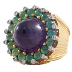Amethyst Green Onyx Diamond Gold Ring and Earring Set