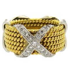 Tiffany & Co. Schlumberger Gold Diamond Six Row Rope Ring