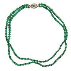 Buccellati Emerald Diamond Gold Bead Two Strand Necklace