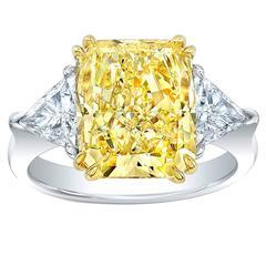 Vibrant 6.05 Carat GIA Cert Fancy Yellow Diamond Gold Platinum Ring