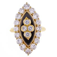 Van Cleef & Arpels Black Onyx Diamond Navette Shaped Ring