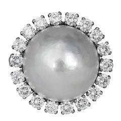 Mabe Pearl Diamond Platinum Cluster Ring