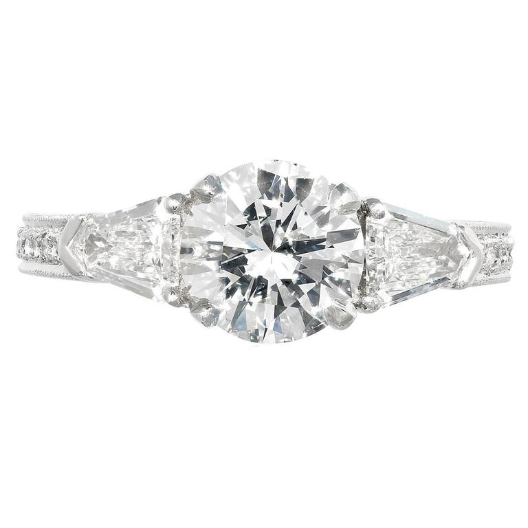 1.50 Carat G/VS2 GIA Certified Diamond Three Stone Platinum Engagement  Ring
