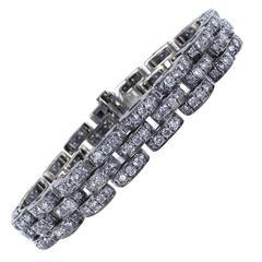 10.00 Carats Round Brilliant Cut Diamonds Gold Bracelet
