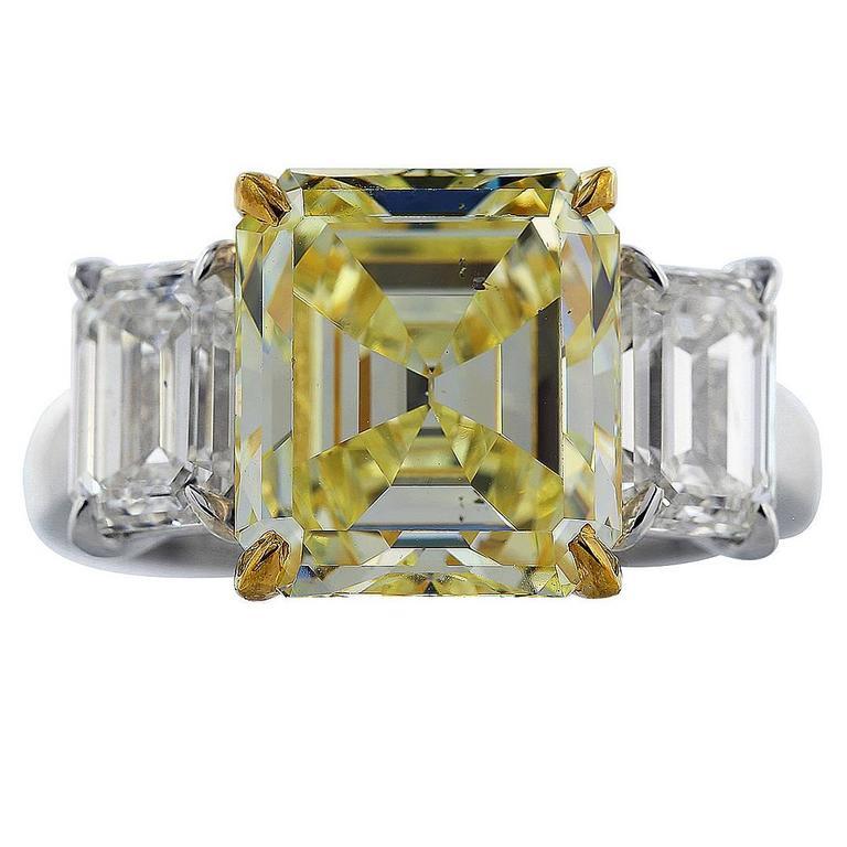5.28 Carat GIA Emerald Cut Canary Diamond Gold Platinum Ring
