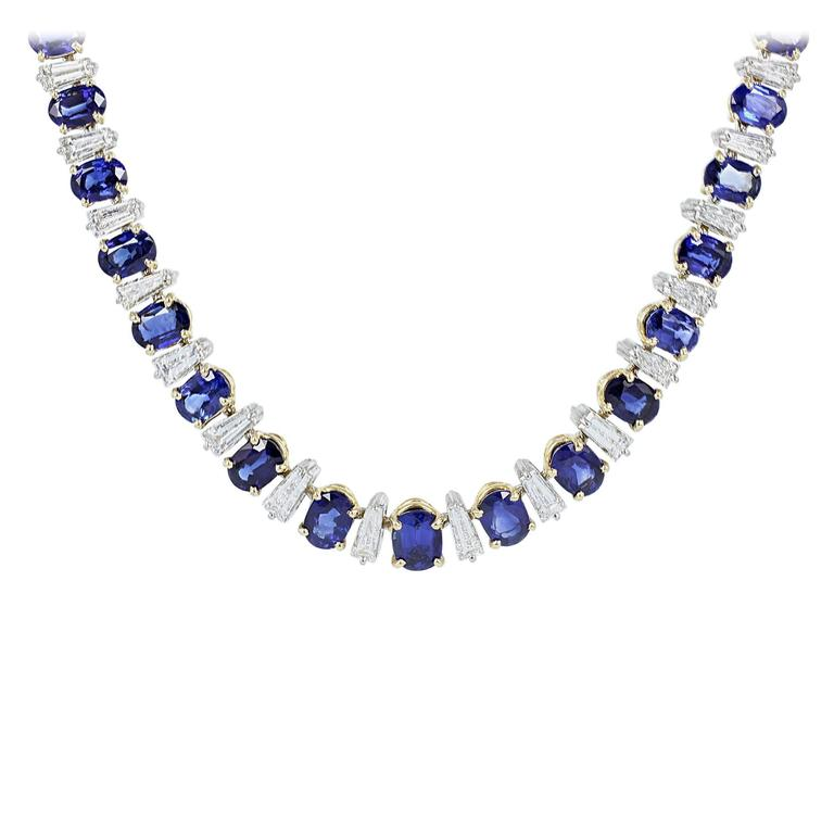 Oscar Heyman Sapphire Diamond Gold Necklace