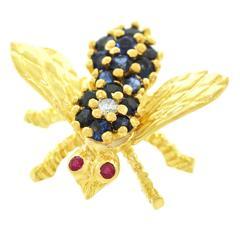 Herbert Rosenthal Sapphire Diamond Gold Bee Brooch