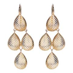 Ray Griffiths Quadruple Pear Shaped Gold Drop Earrings