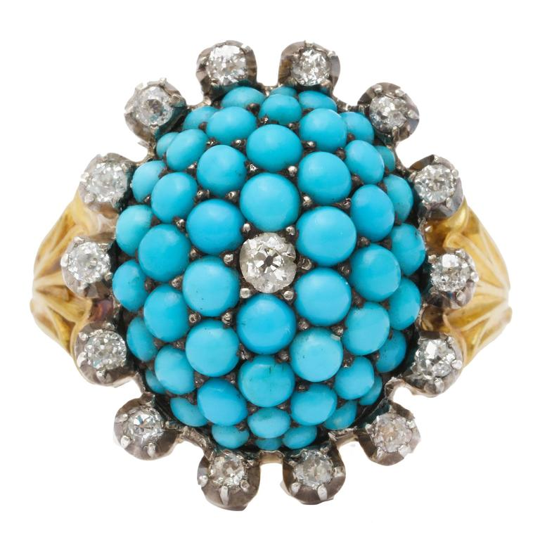 Antique Victorian Natural Turquoise Diamond Gold Ring