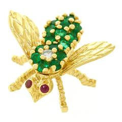 Herbert Rosenthal Emerald Diamond Gold Bee Brooch