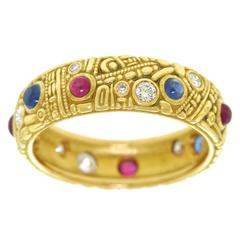 Alex Sepkus Carved Collection Ruby Sapphire Diamond Gold Ring