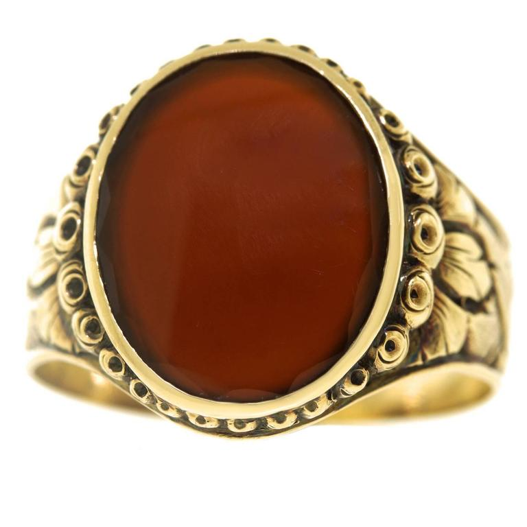 1920s deco carnelian gold signet ring at 1stdibs