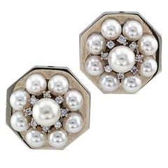 Mid-Century Cultured Pearl Diamond Gold Octagonal Earrings