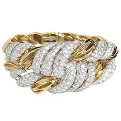 David Webb Diamond Gold Bracelet