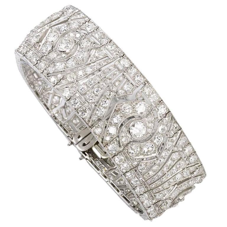 French Art Deco Diamond Platinum Bracelet