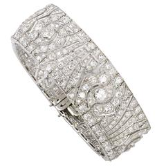 French Art Deco Diamond Platinum Bracelet