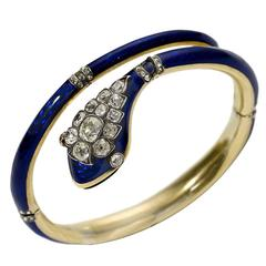 Victorian Blue Enamel Diamond Gold Snake Bangle