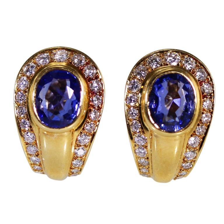 Cartier Sapphire Diamond Gold Earclips