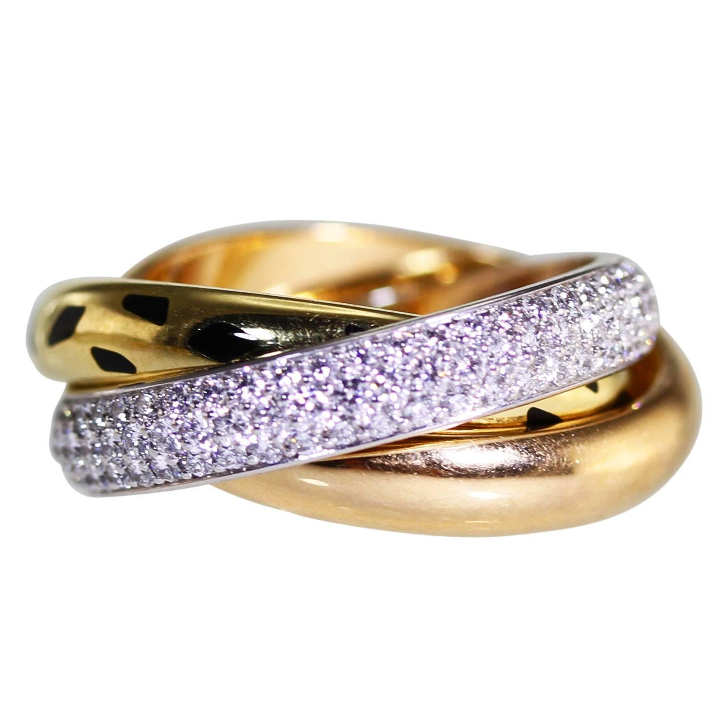 cartier diamond tricolor gold trinity band ring with panther