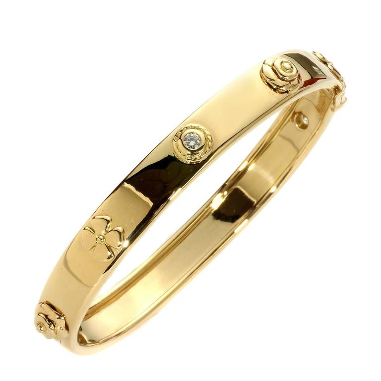 Chanel Camellia Diamond Gold Bangle Bracelet
