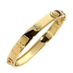 Chanel Camelia Diamond Gold Bangle Bracelet