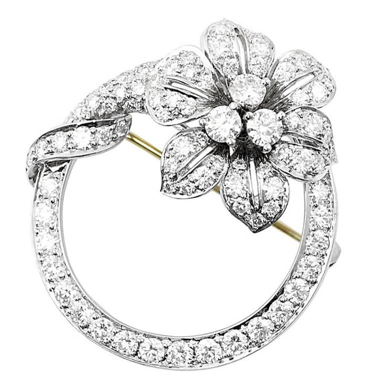Tiffany & Co. Diamond Platinum Flower and Circle Pin