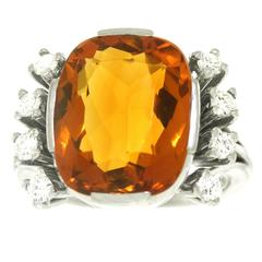 Modernist 8.5 Carat Citrine and Diamond White Gold Ring