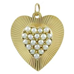 Heart Pearl and Gold Heart Charm