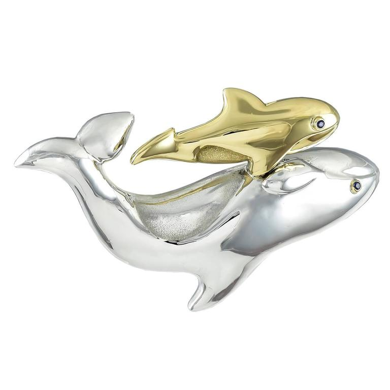 Tiffany & Co. Sterling Silver Gold Fish Pin
