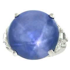 1930s Traub Brothers Detroit Art Deco 25 Carat Star Sapphire Ring