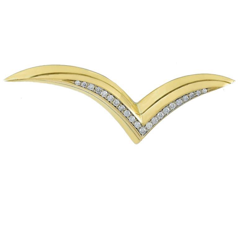 Tiffany & Co. Diamond Gold Seagull Pin