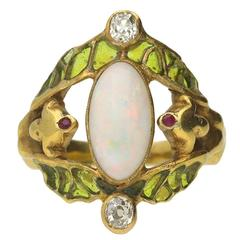1900s Art Nouveau French Opal Ruby Diamond Gold Ring