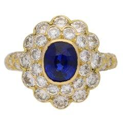 1970s Mauboussin France Natural Unenhanced Ceylon Sapphire Diamond Ring