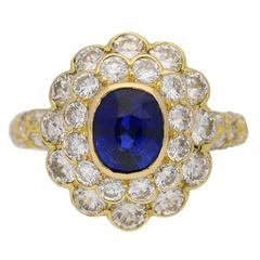 1970s Mauboussin France Natural Unenhanced Ceylon Sapphire Diamond Ring