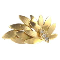 1970s Diamond Gold Leaf Brooch