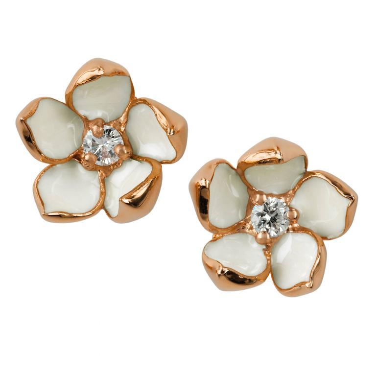 Shaun Leane Enamel Diamond Gold Vermeil Small Blossom Stud Earrings  1