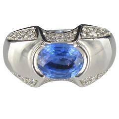 New Sapphire Diamond Gold Ring