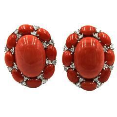 Coral Diamond Gold Earrings