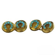 Antique Turquoise Gold Cufflinks