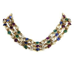 Precious Gemstone Gold Necklace