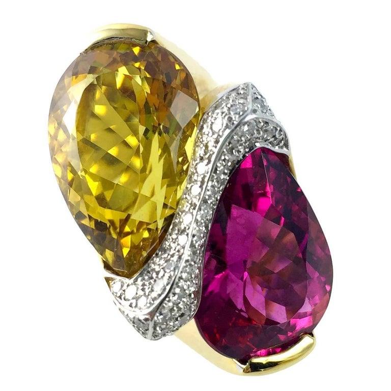 Rubelite Golden Beryl Gold Toi et Moi Cocktail Ring For Sale