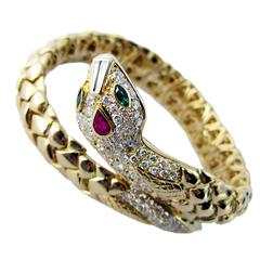 Yellow Gold Ruby and Emerald White Diamond Snake Cuff Bracelet
