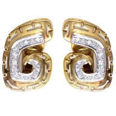 Ilias Lalaounis Diamond Multicolor Gold Clip-on Earrings