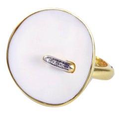 Modern White Onyx Diamond Gold Ring