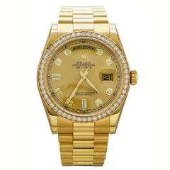Rolex Yellow Gold Diamond Oyster Perpetual Day Date Wristwatch