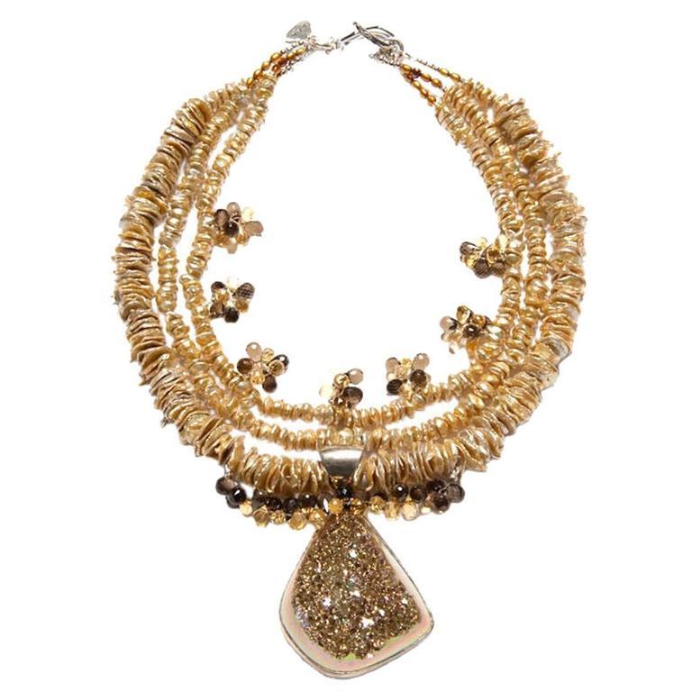 Deborah Liebman Druzy Quartz Pendant Citrine Smoky Quartz Pearl Silver Necklace