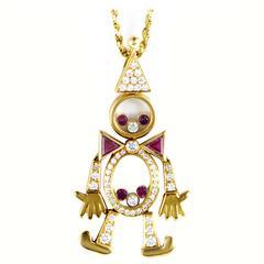 Chopard Ruby Diamond Gold Clown Pendant Necklace