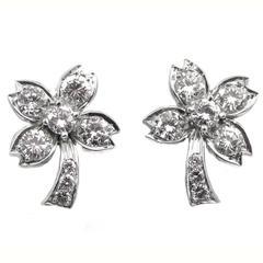 Tiffany & Co. Diamond Platinum Flower Earrings